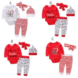 Wholesale Wholesale Kids Clothe Brand - Children Christmas stripe outfits Cartoon letter printing headband+romper+pants 3pcs set Xmas baby suits kids Clothing C2662
