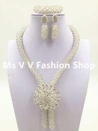 Wholesale African Costume Jewelry Sets - 2016 Wholesale wedding white Nigerian African Wedding Beads Jewelry Set African Costume Necklace Set for Women Free Shipping
