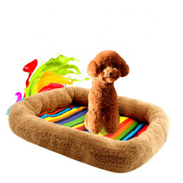 Wholesale Colorful Dog Beds - Wholesale Soft Plush +Cloth Pet Dog Cat Mat Foldable Square Colorful Mats for Small Medium Dogs Dog Cat House Pets Beds