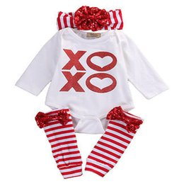 "Wholesale Baby 3pc Sets - INS Baby Long sleeved Xmas ""XO""love 3pc set red white striped boys girls outfirs tops & girls leg warmers & girls big bow headband"