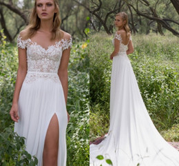 Wholesale Chiffon Beaded Beach Wedding Dress - Limor Rosen Lace Beaded Beach Wedding Dresses Sheer Neck Cap Sleeves Chiffon Bridal Dresses A-line High Split Wedding Gowns