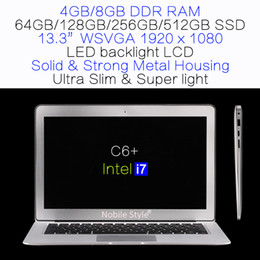 Wholesale Ssd Freeship - 13.3inch Intel i7 8gb ram 512GB SSD hard disk gaming game laptop LED backlight LCD Win7 Win8 Win10 Notebook Ultra slim (C6+i7)