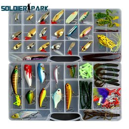 Wholesale bass steel - 119pcs lot Mixed Fishing Lures Saltwater Freshwater Intergrated Frog Minnow Bass Crank Bait Tackle Hook Soft Bait Lure Kit order<$18no track