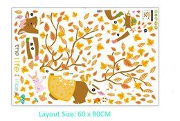 Etiqueta de la pared del árbol amarillo online-Ciervos de dibujos animados con ramas de árbol amarillo Cuerno Pegatinas de pared Niños Habitación Infantil Decoración de pared Cartel mural Animales de dibujos animados Me gusta la vida Fondos de pantalla