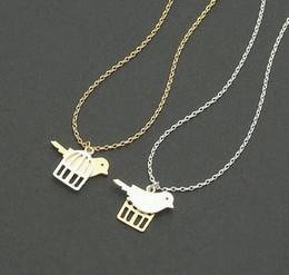 Wholesale Necklace Bird Cage - Fashion birds and bird cage pendant necklace, golden mixed silver pendant necklaces wholesale free shipping