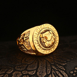 Wholesale Gold Lion Head Ring - High quality HIP HOP lion head ring Men's liion face Ring 24K GP Yellow Gold Ring for Men Size 7, 8,9 10,11