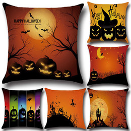 Wholesale Home Decorative Gifts - Halloween Pumpkin Witch Cushion Cover Cartoon Halloween Style Pillow Cover Home Decorative Cushion Cases Festival Gift YLCM
