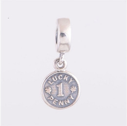 Wholesale Lucky Coin Charms - 2017 New 925 Sterling Silver Jewelry Letters Of Lucky Penny Dangle Charms Fashion Coin Fit Famous Brand DIY Charm Bracelets Making HB490