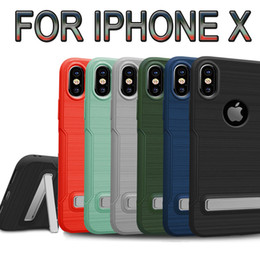 Wholesale Green Cell Grey - TPU Drawbench Protective With PC Holder Kickstand For Iphone X 6 6S 7 8 Plus Cell Phone Case For Samsung Galaxy s7 Edge s8 plus Back Cover