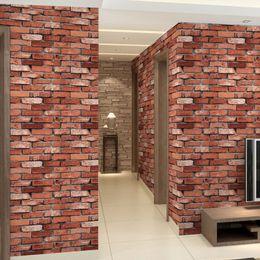 Wholesale Rolling Stones Vintage - 3D Brick Wall Paper Roll Grey Vinyl Wallpapers PVC Retro Stone Wallpaper for Walls Papel Pintado Vintage papel de parede tijolo