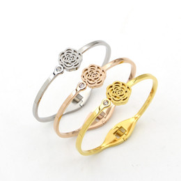 Wholesale Camellia Bangle - Korean with diamond spring opening scrub Camellia bracelet fashion women's jewelry accessories all-match hollow Bracelet