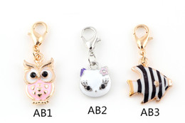 Wholesale Cat Owl Jewelry - Cat Fish Owl Floating Locket Charms Pendant with Lobster Clasp for Bracelet Locket Necklaces DIY Metal Jewelry Making Mix 3 Styles