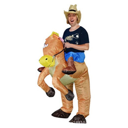 Wholesale Inflatable Carnival - Adult Funny Cowboy Horse Outfit funny Inflatable costume Halloween Carnival Cosplay Cow boy Rider Horse Inflatable Costume