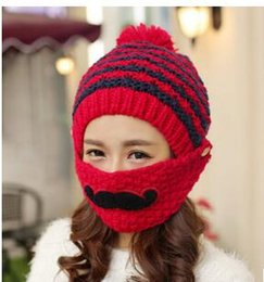 Wholesale Velvet Hats Ladies - Women Winter Knitted Beanie Hats with Velvet Wool Thickening for Ladies Knitted Hat Lovely Warm Cotton Earmuffs Masks Beard Cap HOT Gift