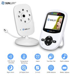 Wholesale Wireless Battery Video Camera - Wholesale- SUNLUXY 2.4'' Wireless Babycam Digital LCD 2.4GHz Baby Monitor Night Vision Audio Video Baby Security Camera Music Two Way Talk