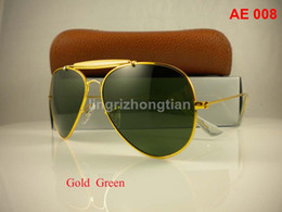 Wholesale Gold Lens Mirror Sunglasses - 1Pair Excellent Quality Men Male Designer Pilot Sunglasses Outdoorsman Sun Glasses Eyewear Gold Golden Green 62mm Glass Lenses With Box Case