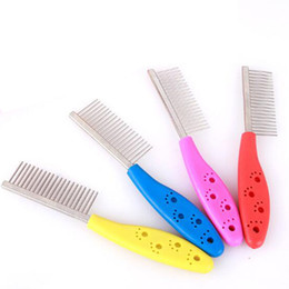 Wholesale Pet Flea Products - Wholesale-Hot Pet Dog Hair Flea Comb Stainless Pin Dog Cat Grooming Brush Comb Clean Tool free shipping