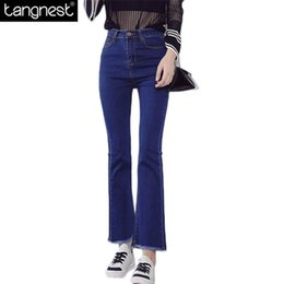 Wholesale Wholesale Colored Skinny Jeans - Wholesale- TANGNEST Raw Edge Tassel Ankle Length Flared Jeans 2017 Fashion Woman Skinny Bugle Pants Basic Bell-bottom Denim Trousers WKN448