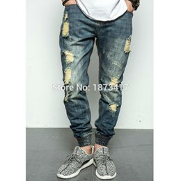 Wholesale Damaged Jeans - Wholesale-2016 New Fashion Street Mens Destroyed Jeans Hole Casual Jeans Ankle Cool Hiphop Jeans Joggger Damage Jeans