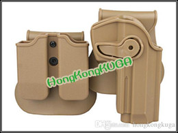 Wholesale Wholesale Glock - 2016 Sale Airsoftsports Gun Glock Ipsc Imi Defense Polymer Retention Roto Holster And Double Magazine Fits 92 96 m9 All In One Biack Tan