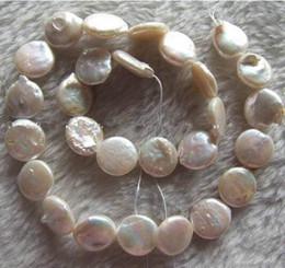 pérolas de pérola branca de 14mm Desconto Frete grátis Nova Jóia Barroca 1 fios 13-14mm Branco Natural de Água Doce Pérola Moeda Beads 14.5