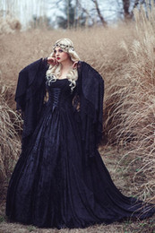 Wholesale Medieval Evening Dresses - Gothic Black Lace Halloween Prom Dresses 2016 A Line Custom made Ruffles Ribbon Trumpet Long Sleeve Medieval Fairy Vingate Evening Gowns