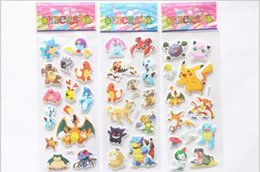 Wholesale Gift Card Sticker - 2016 Cartoon poke Kids toys cards students Stickers Pikachu Stickers Kids Cartoon Craft Scrapbook Stickers kid gift 200 sheets