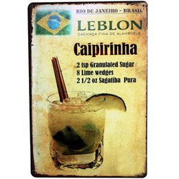 Wholesale Alcohol Signs - Wholesale- Metal Tin Sign Caipirinha Brazil Cocktail Retro Plate Poster Alcohol Drink Plaque for Pub Bar Lounge wall decor LJ3-1 20x30cm A1
