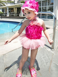 Wholesale Girls Plaid Swimsuits - Summer Baby Swimsuit Bikini Kids Swimwear 3PCS Set Minnie Dot Swimuits Two-Pieces+Swan Swim Hat Baby Girls Summer Bikini Beach Swimwear
