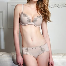 Wholesale Designer Lingerie - Sexy Lingerie Ladies Bra Set Luxurious Embroidery Push Up Bra And Panty Sets 2 Color Brand Simple Designer Women Intimates