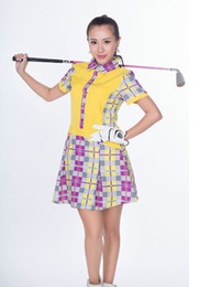 Wholesale 2016 hot selling women short golf plaid shirts dress Sets Quick drying golf clothing sportwear skirt Golf shorts golf dress S XXXL
