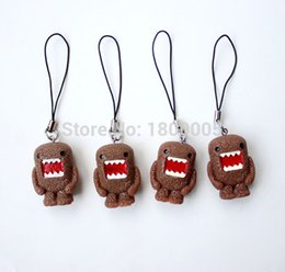 Wholesale Domo Phone Charm - 10 pcs Japanese Cartoon DOMO Kun Key chain strap Keychain Mobile Phone Charms Black Straps Resin Made Bags Schoolbag Gift Toy