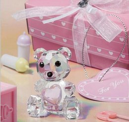 Wholesale Clear Paperweight Wholesalers - 100sets lot, Blue Pink crystal bear Clear Paperweight Desk Decor Wedding Favor baby's birthday gift