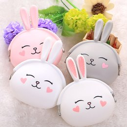 Wholesale Cute Mini Wallets Keys - Lovely Cute Rabbit Style Mini Coin Purse Hasp Purse Silicone Key Holder Wallet Small Gifts Bag Lady Cartoon Coin Purse