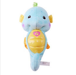 Wholesale Flashing Lights Song - 2016 Plush pink blue hippocampus Baby Toy infant Rattle music Appease sleeping Dolls flashing light with 8 songs washable