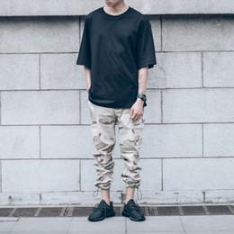 Wholesale Camo Mens Cargo Pants - Wholesale-Camouflage Cargo Pants Men Draw String Leg Opening Casual Mens Pants Camo Denim Pants Trousers Kanye West