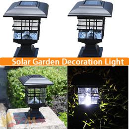 Wholesale Solar Led Light Cap - Wholesale-Solar Post cap Lamp LED Solar Lantern Green Housing Solar Lamp Garden LED Solar Light Outdoor for Emergency Waterproof Rainproof