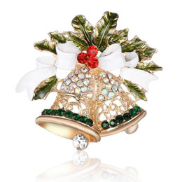 Wholesale Ball Ornaments Box - Fashion Ornaments Bow Fully-jewelled Small Bell Brooch European Windbreaker Decorate Christmas Boxing Things Gemstone