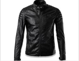 Wholesale Leather Jackets For Winter - new arrived winter autumn fashion mens Designer Brand black leather Rivet jacket slim fit jackets for mens motorcycle clothes