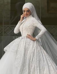 Wholesale Scarves Wedding Dresses - Muslim Wedding Dresses White Have Scarf 2016 Elegant Saudi Arabic Islamic Dress High Collar Long Sleeve Dress for Muslim Women