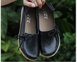 Wholesale Genuine Leather Nurse - Plus Size 34-44 2016 Ballet Women Genuine Leather Shoes Woman Flat Flexible Round Toe Nurse Casual Fashion Loafer