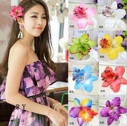 Wholesale Flower Hair Slides - 20Pcs Lot 7Colors Orchid Hair Flower Grip Pin Slide Bridal Wedding Head Clip Headpiece 2016 June Style