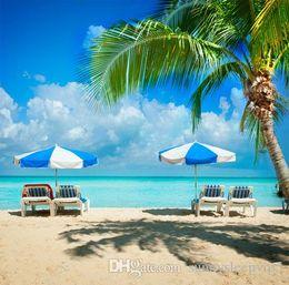 Wholesale Vinyl Sea Backdrop - Summer Sea Blue Sky Palm Tree White Chair Scenic Background Seascape Photography Studio Vinyl 5x7ft Backdrops