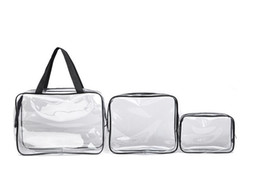 Wholesale Toiletry Bag Sets - 2016 3pcs set Travel Essential Transparent Waterproof Toiletry Wash Bathing Supplies Storage Bag Makeup Cosmetic Bags PVC Pouch
