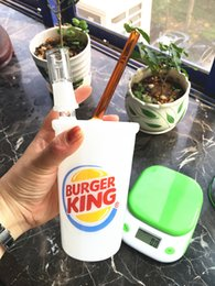 Wholesale Set Cheap Cups - FREE SHIPPING jade white BURGER KING TYPE CUPs oil rig big size 2 sets oil accessories pack with nice gift box cheap glass bongs to USA