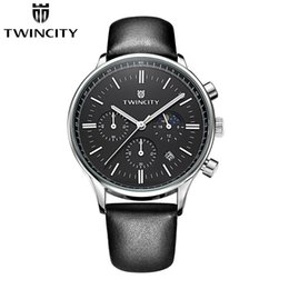 Wholesale moon watch chronograph - Luxury brand new TWINCITY men's quartz watch chronograph wristwatch automatic date sports leisure watches moon phase fashion leather strap