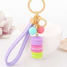 Wholesale Christmas Car Accessories - New Creative Macarons Cake Key Chain Hide Rope Pendant Fashion Keychains Car Keyrings Accessories Women Bag Charm Trinket Christmas Gifts