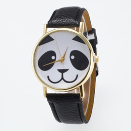 Wholesale Panda Pins - Cute Women's Panda Pattern Round Dial Faux Leather Analog Quartz Wrist Watch For Ladies Girl Birthday Gift