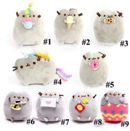Wholesale Styling Doll - New 9 Styles 15cm Pusheen Sushi Angel Eggshell Potato Chips Cat Plush Doll Stuffed Animals Christmas Toys CCA7944 120pcs