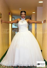 Wholesale Manga Cover - Plus Size Ball African Wedding Gowns High Neck Lace Appliques Beading Vestidos de noiva com manga longa Princess Bridal Dress New Style